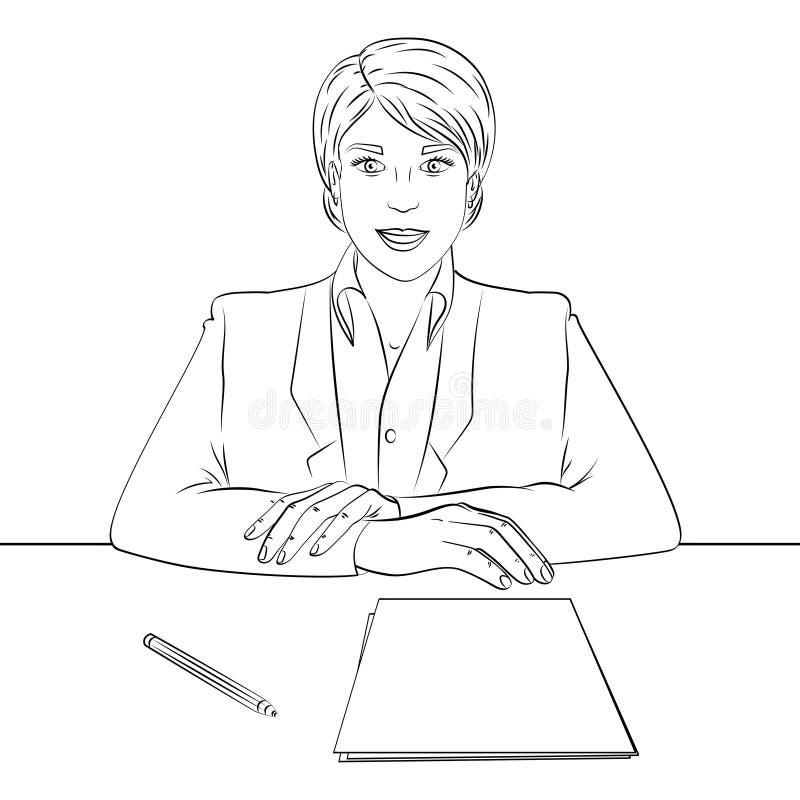 Colorando, linee nere su un fondo bianco donna di affari, capo alla tavola, personale di ricezione, intervista di lavoro Vettore royalty illustrazione gratis