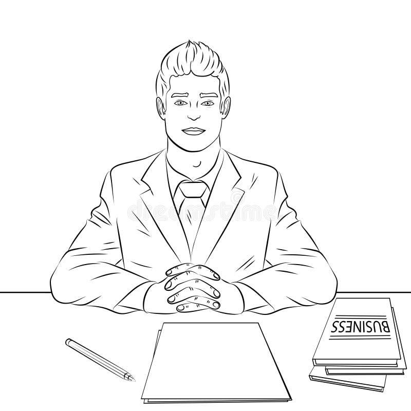 Colorando, linee nere su un fondo bianco Uomo d'affari, capo alla tavola, personale di ricezione, intervista di lavoro Vettore royalty illustrazione gratis