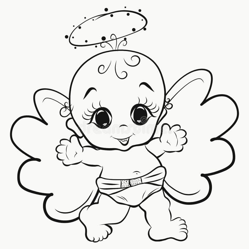 Colorant, bébé heureux d'ange avec le halo illustration stock