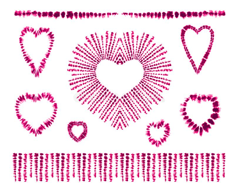 Colorant rouge de lien de coeur Rose rouge Art Brushes Copie dans le style de Shibori Ornement de ruban, ruban, frontière illustration de vecteur