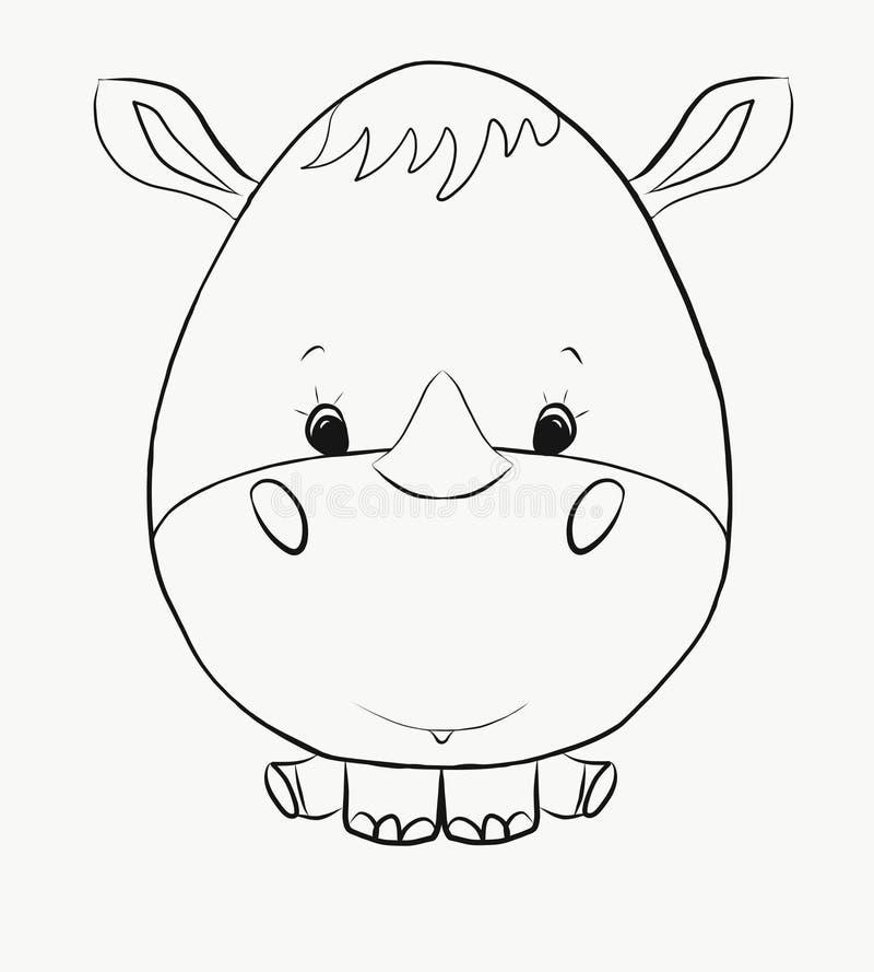Colorant, un petit rhinocéros drôle illustration de vecteur