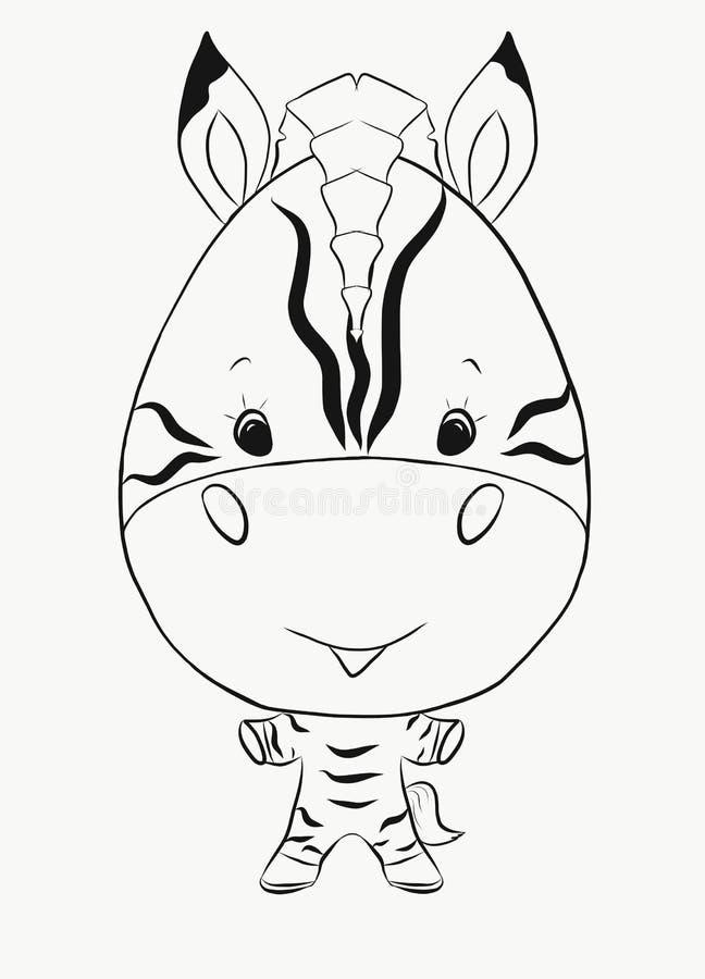 Colorant, un petit zèbre drôle de garçon illustration de vecteur