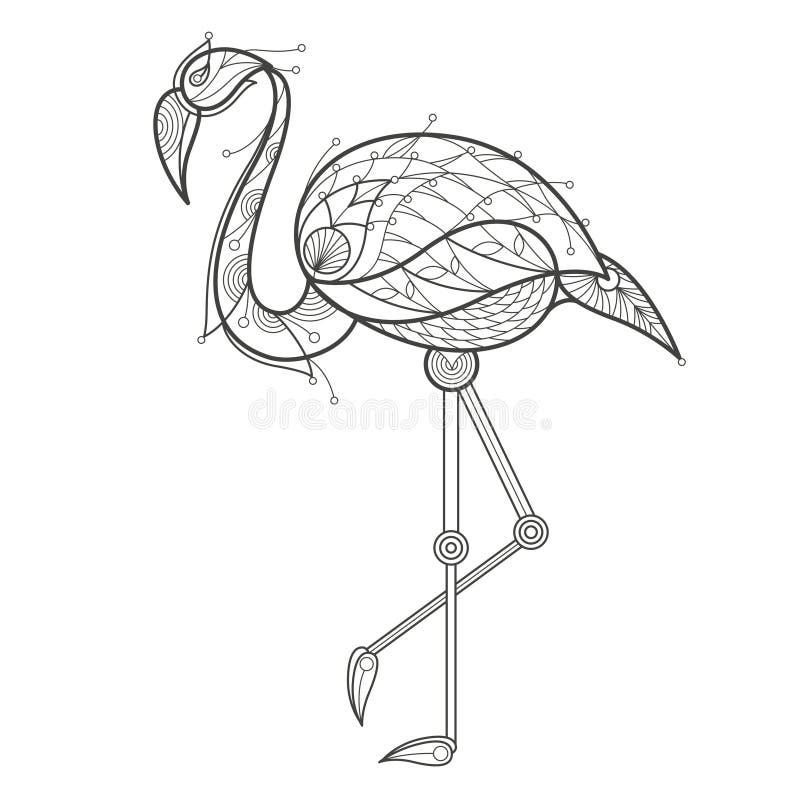 Colorante adulto Flamenco del pájaro ilustración del vector