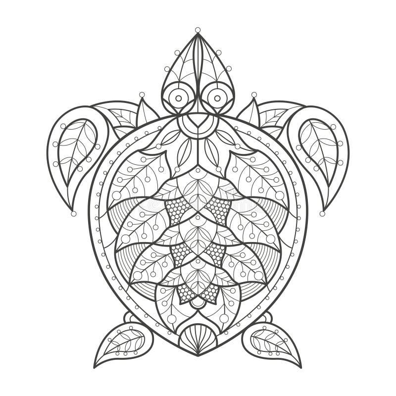 Colorante Adulto Tortuga De Mar Ilustración del Vector - Ilustración ...