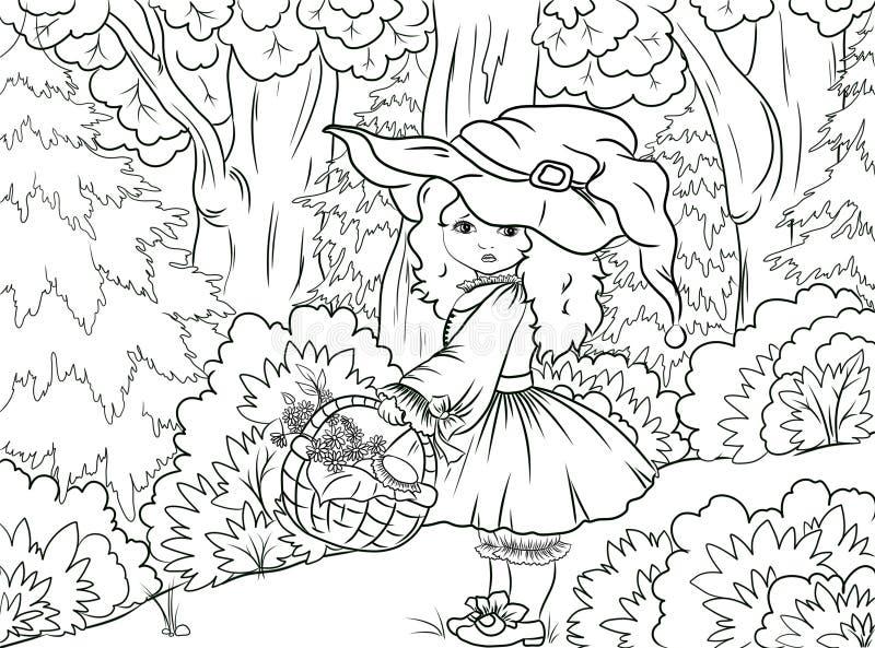 Colorante blanco y negro del ejemplo: Caperucita Rojo libre illustration