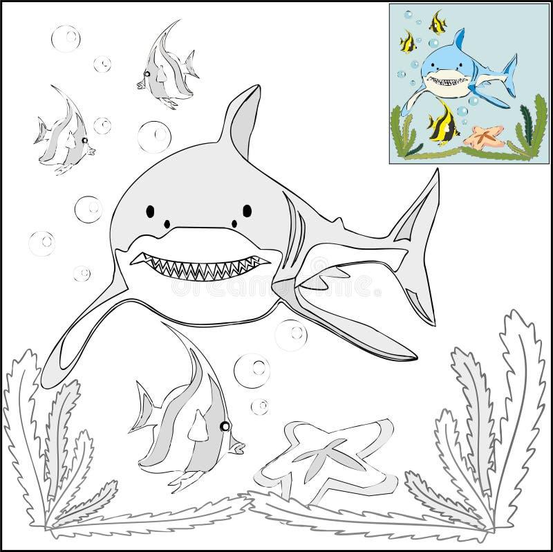 Colorante Con Las Plantillas - Tiburón En El Mar Ilustración del ...