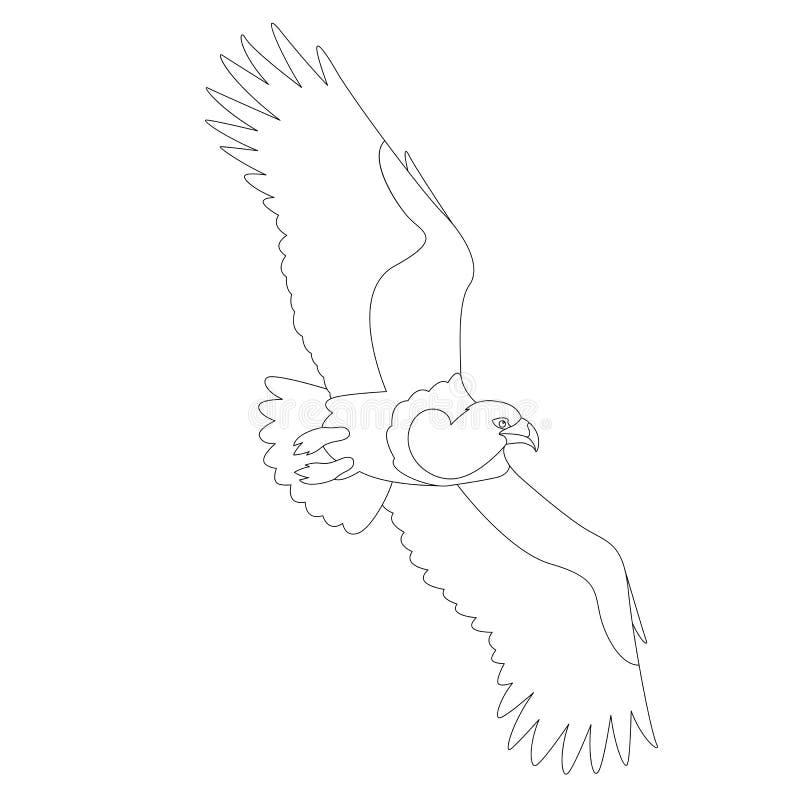 Colorante del lado del perfil del ejemplo del vector del águila del pájaro stock de ilustración
