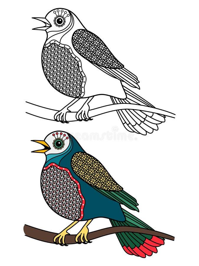 Colorante del pájaro Garabatee los pájaros del canto aislados en el fondo blanco - colorante antiesfuerzo con la muestra stock de ilustración