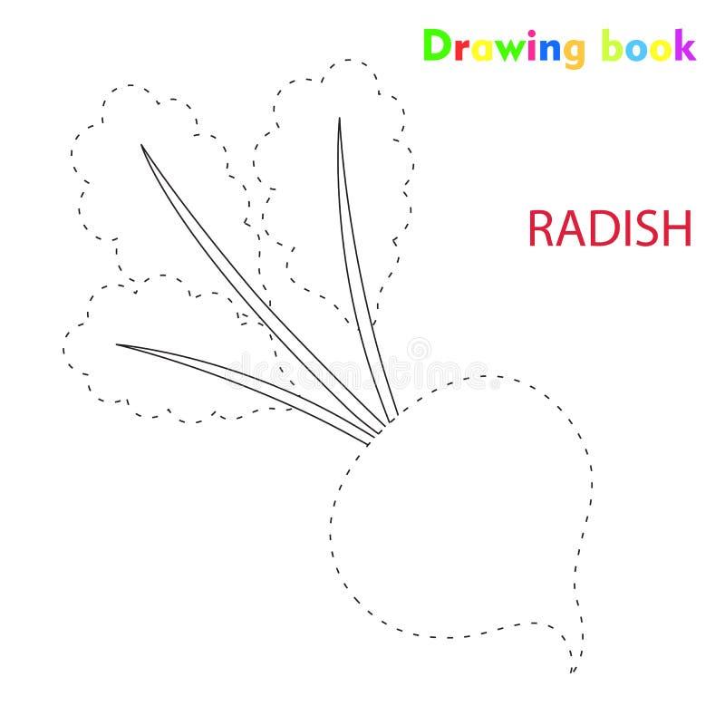Colorante del rábano y ejemplo vegetal del diseño del cuaderno de dibujo libre illustration
