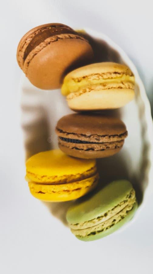 Coloranti alimentari dolci dello zucchero del dolce del dessert di Macarons immagine stock libera da diritti
