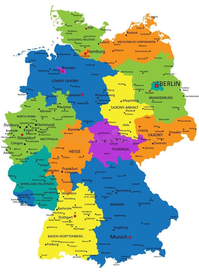 Cartina Fisica Germania Con Confini.Mappa Politica Di Vettore Della Germania Con Le Regioni Illustrazione Vettoriale Illustrazione Di Illustrazione Come 111864589