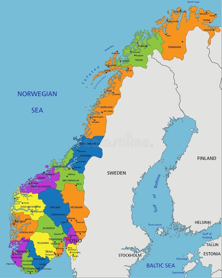 Cartina Geografica Norvegia Fisica.Mappa Politica Della Norvegia Illustrazione Vettoriale Illustrazione Di Vettore Geografia 87296463