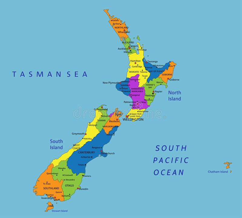 Cartina Nuova Zelanda.Mappa Politica Della Nuova Zelanda Illustrazione Vettoriale Illustrazione Di Cuoco Auckland 102515996