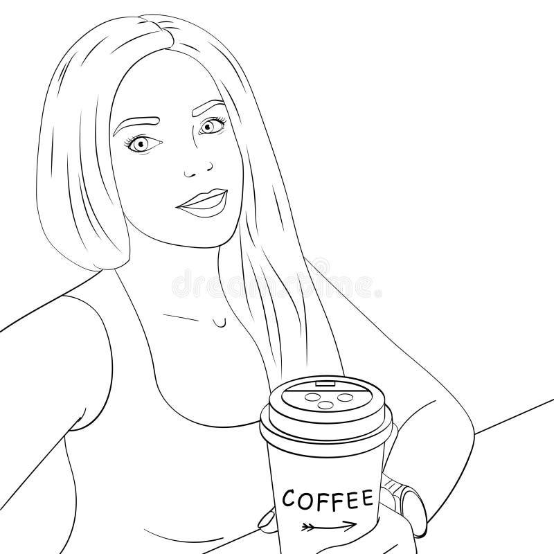 Coloration d'isolement d'objet, lignes noires, fond blanc Fille blonde et jeune faisant le selfie Dans le café avec une tasse illustration libre de droits