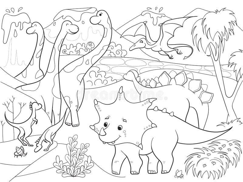 Coloration de bande dessinée pour des dinosaures d'enfants en nature Illustration noire et blanche de vecteur illustration de vecteur
