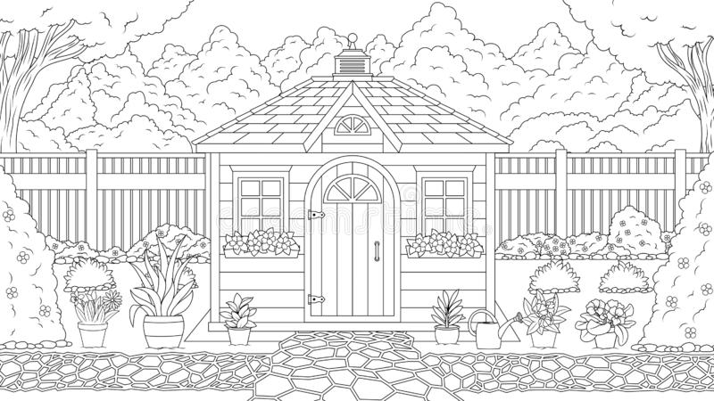Coloration de maison de jardin illustration stock