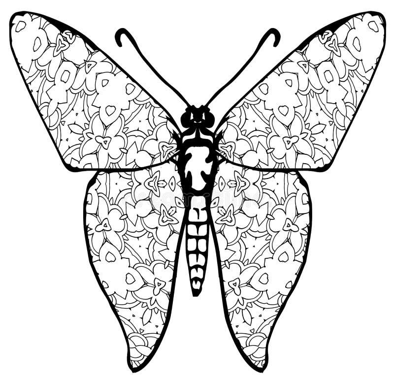 Coloration de papillon pour des enfants et des adultes pour des instants de relaxation photographie stock