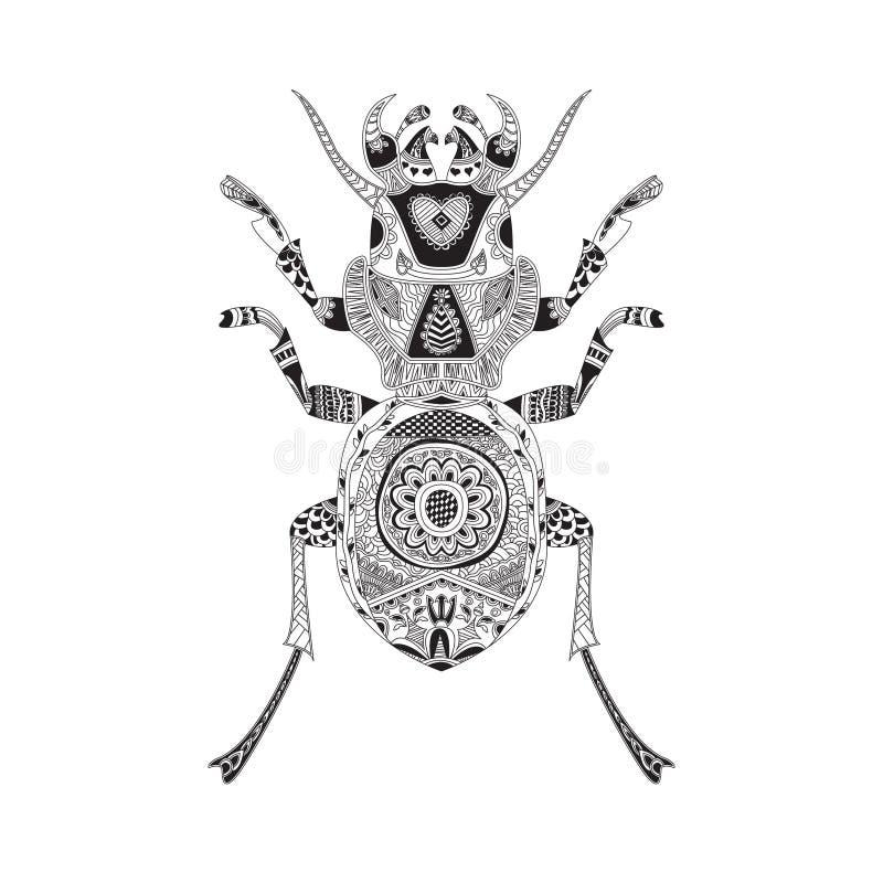 Coloration modelée de scarabée et votre conception illustration stock