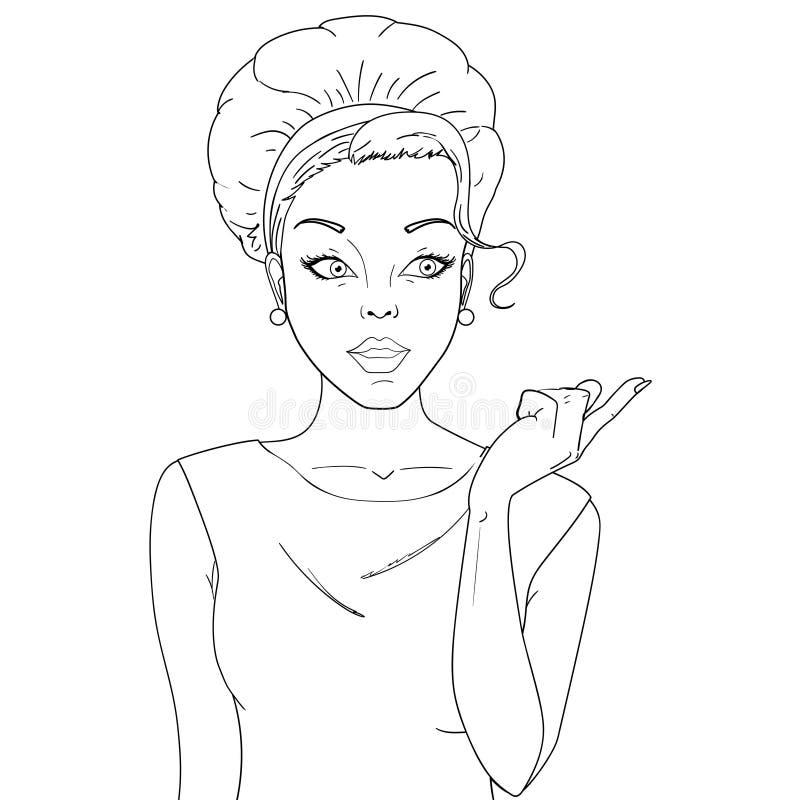 Coloration, noire et blanche Femme comique Femmes stupéfaites Fille d'art de bruit beauté illustration de vecteur