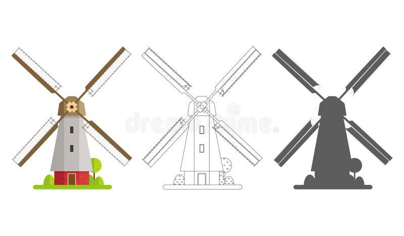 Colorato, siluetta e mulino di contorno su un fondo bianco isolato Mulino nella progettazione piana immagine stock