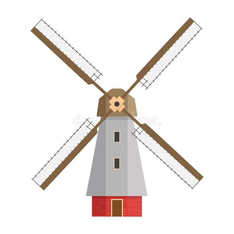Colorato, siluetta e mulino di contorno su un fondo bianco isolato Mulino nella progettazione piana illustrazione di stock