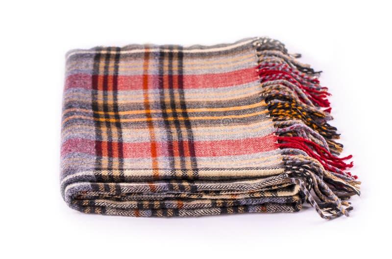 Colore冬天有在白色隔绝的样式的羊毛围巾 免版税库存图片