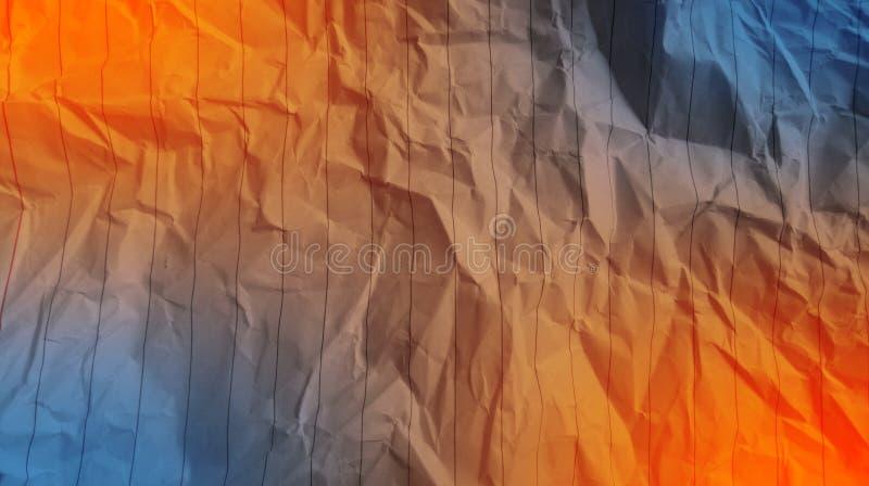 Colore arancio di carta sgualcito dell'estratto, colore blu del deserto, multi fondo di effetti di colori della miscela fotografia stock