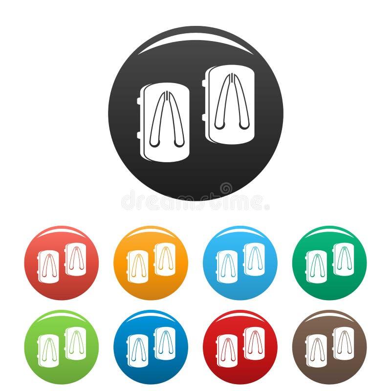 Colore asiatico dell'insieme delle icone delle pantofole illustrazione di stock