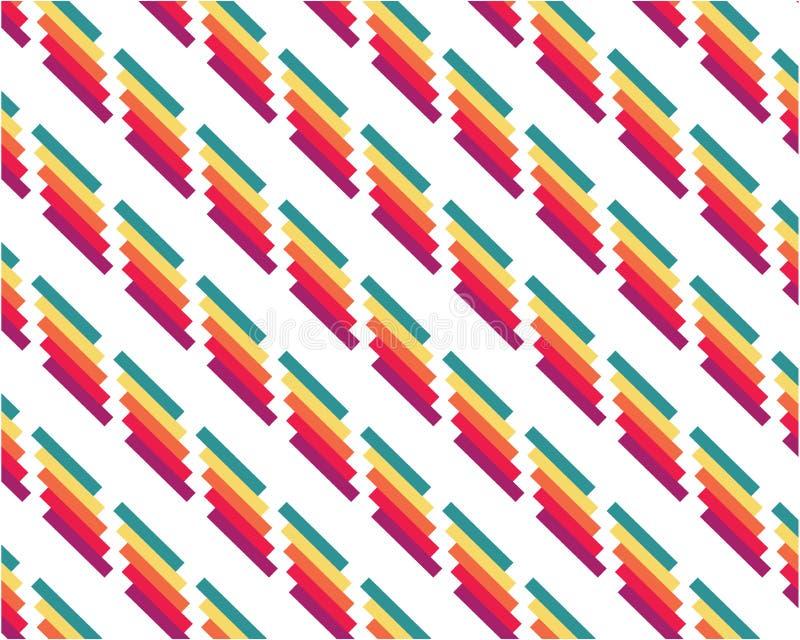 Colore astratto geometrico del fondo che ripete le linee su fondo bianco illustrazione vettoriale