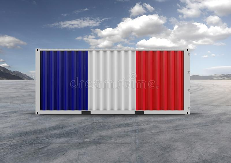 Colore azul, branco, vermelho, recipiente rendi??o 3d Nuvens cinzentas foto de stock