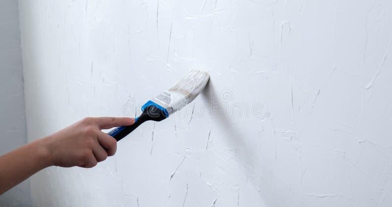 Colore bianco di verniciatura della spazzola della tenuta della mano alla parete fotografia stock libera da diritti