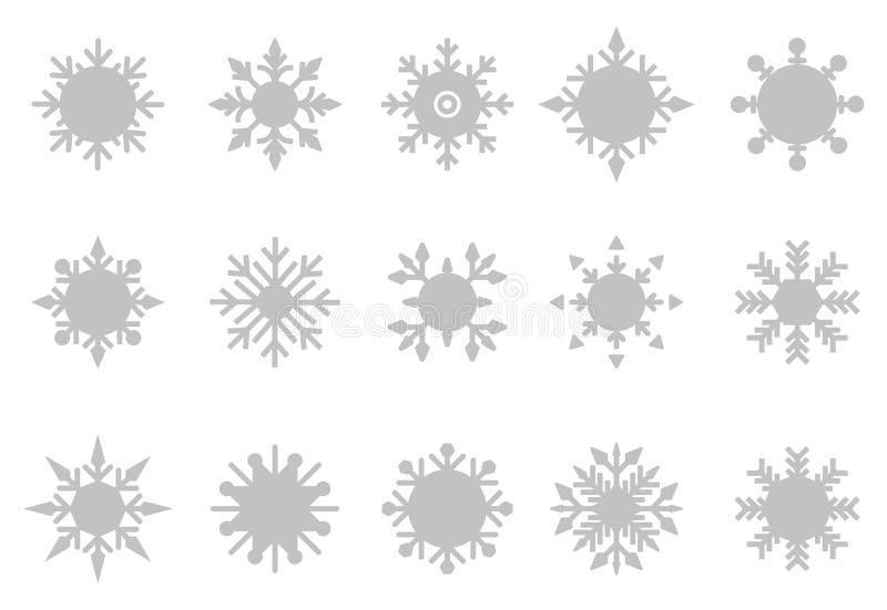 Colore bianco stabilito del fondo dell'icona di vettore del fiocco di neve illustrazione vettoriale
