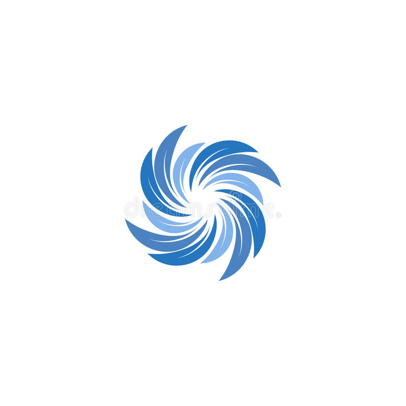 Colore blu astratto isolato che spining logo a spirale Logotype di turbinio Icona dell'acqua Segno di vortice Simbolo liquido con royalty illustrazione gratis