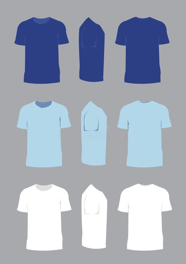 Colore blu e bianco di vettore di progettazione della maglietta illustrazione vettoriale