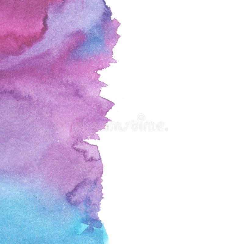 Colore blu e viola dell'acquerello astratto del fondo con fondo bianco royalty illustrazione gratis