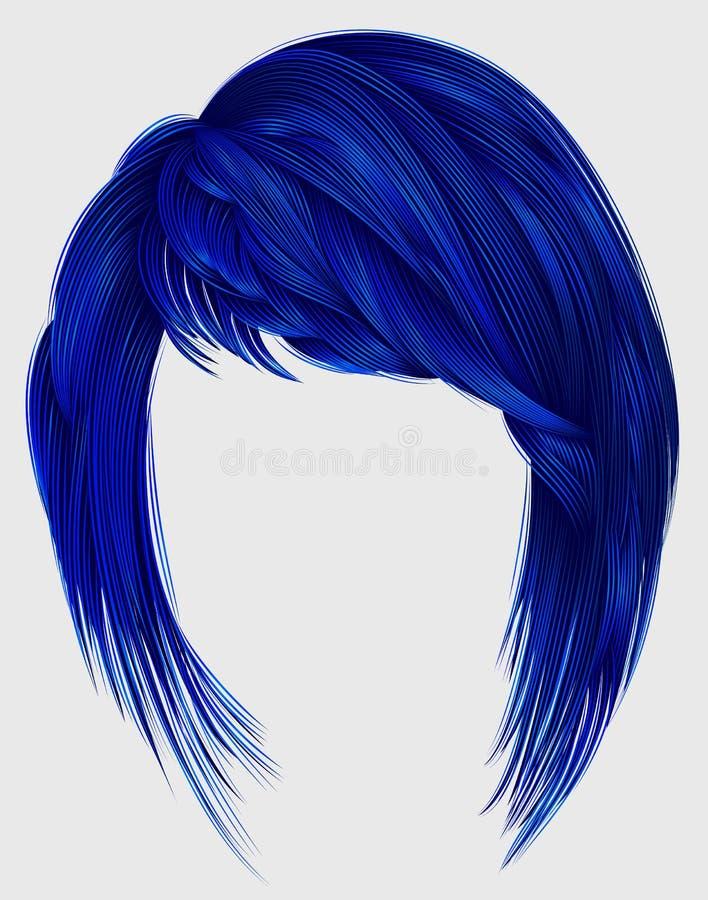 Colore blu scuro dei capelli d'avanguardia della donna kare con il medium le di colpi illustrazione vettoriale