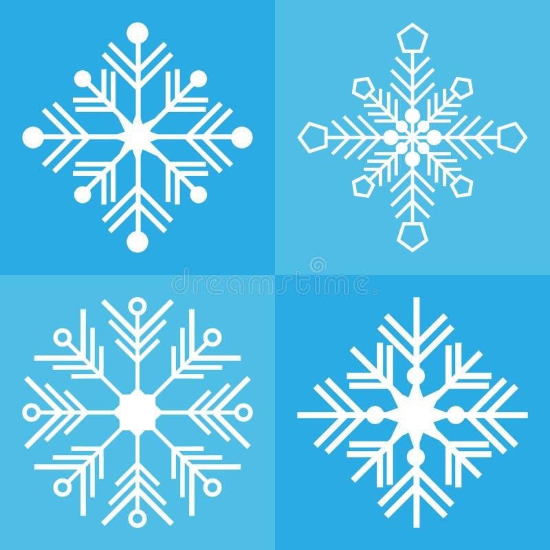 Colore blu stabilito del fondo dell'icona di vettore del fiocco di neve illustrazione vettoriale