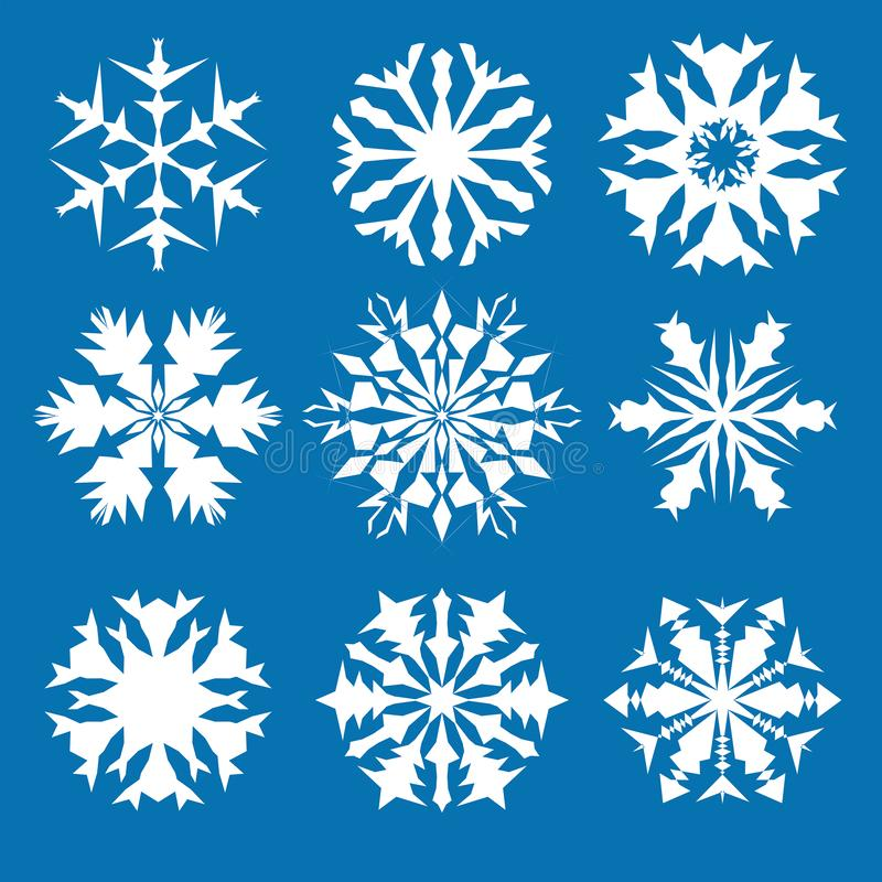Colore blu stabilito del fondo dell'icona di vettore del fiocco di neve Elemento del cristallo del fiocco della neve di natale bi royalty illustrazione gratis