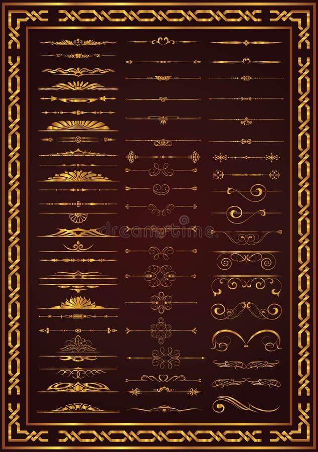 Colore calligrafico dell'oro degli elementi della decorazione dell'insieme piacevole illustrazione di stock
