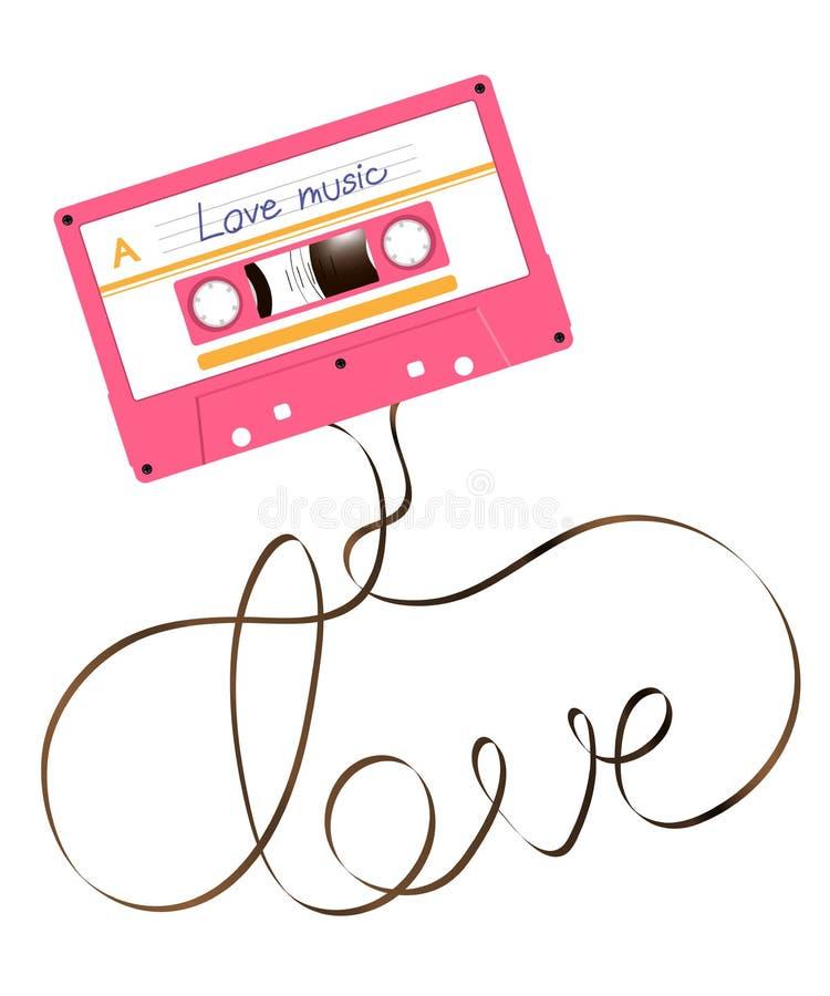 Colore compatto di rosa dell'audio cassetta e testo di amore fatto dall'illustrazione magnetica analogica della cassetta audio royalty illustrazione gratis