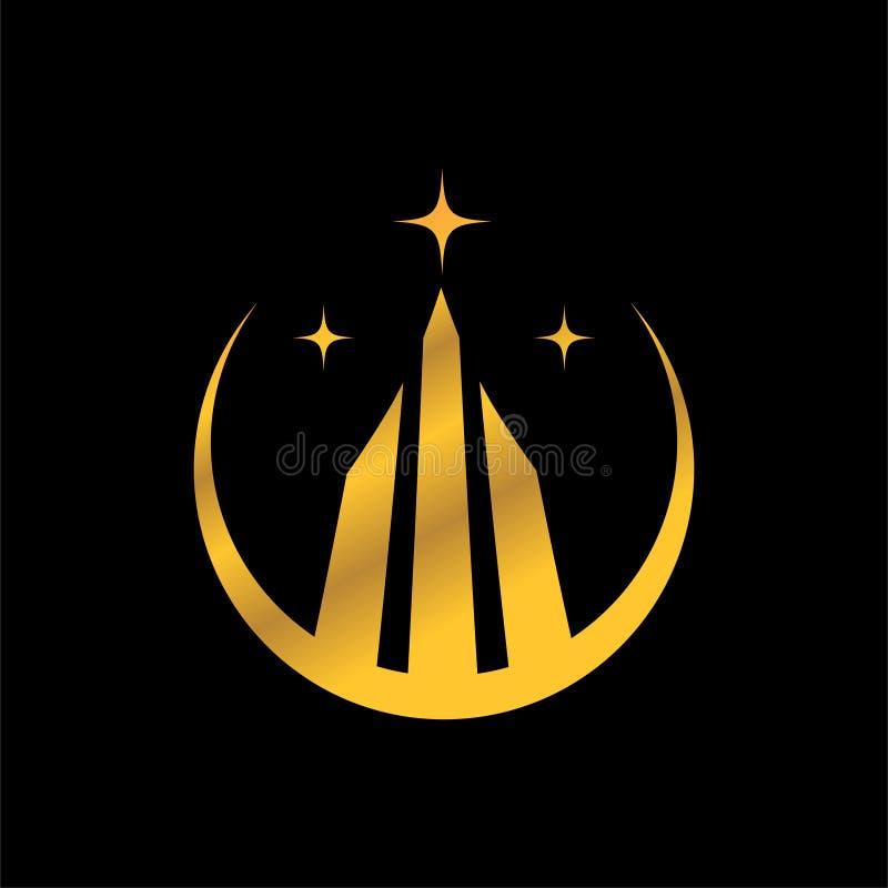 colore corporativo dell'oro di progettazione dell'estratto del segno di logo dell'icona della propriet? su fondo nero illustrazione vettoriale