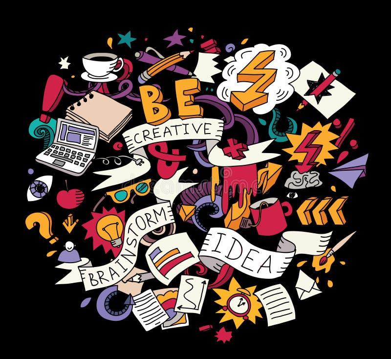 Colore creativo luminoso di lampo di genio di idea di scarabocchi sul nero illustrazione di stock
