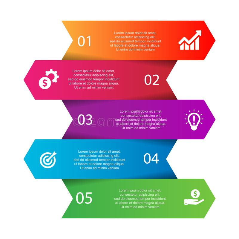 Colore cronológico de la empresa del concepto del vector de Infographic en diseño plano stock de ilustración