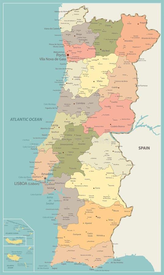 Cartina Dettagliata Del Portogallo.Mappa Politica Del Portogallo Illustrazione Vettoriale Illustrazione Di Lisbona Faro 102544144