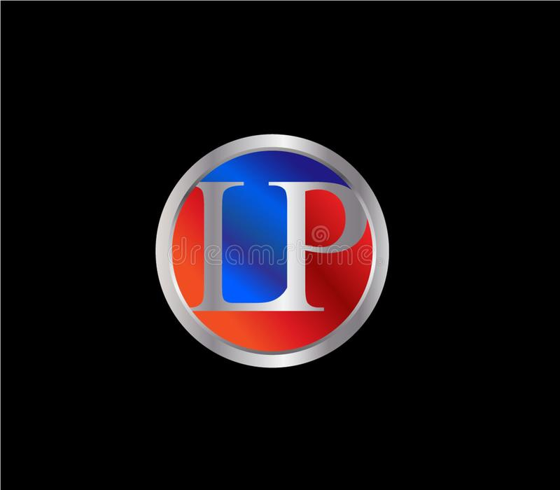 Colore d'argento blu rosso Logo Design successivo di forma iniziale del cerchio di LP royalty illustrazione gratis