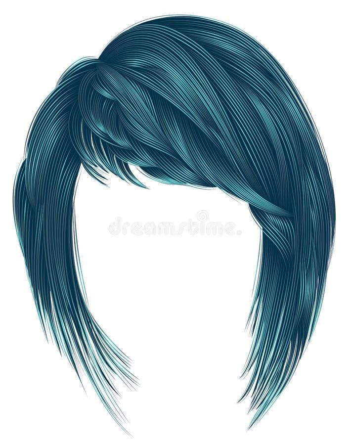 Colore d'avanguardia del blu dei capelli della donna kare con la lunghezza di medium di colpi illustrazione di stock