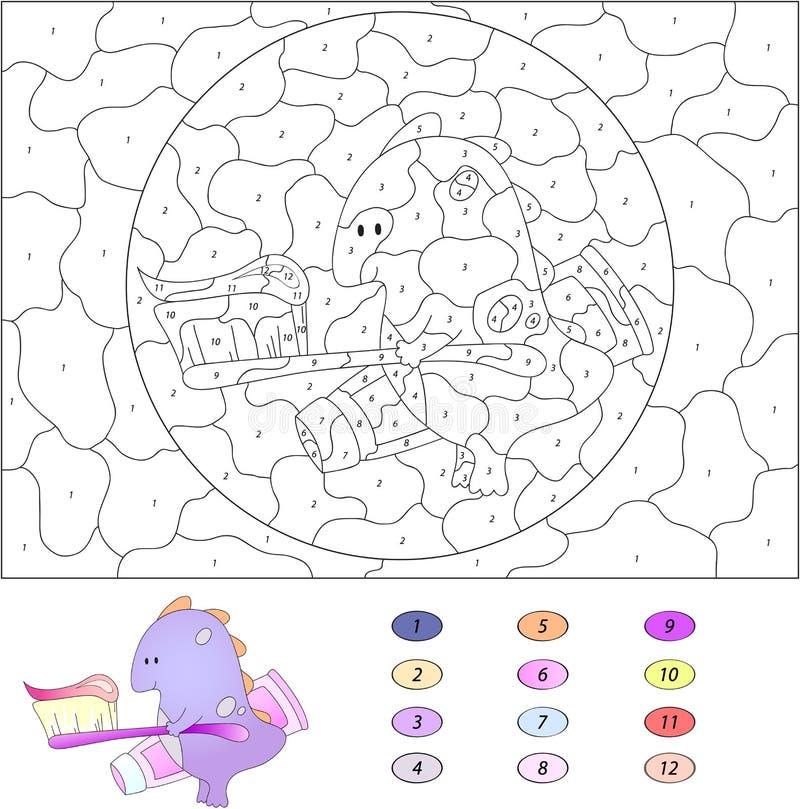 Colore dal gioco educativo di numero per i bambini Drago divertente del fumetto illustrazione vettoriale