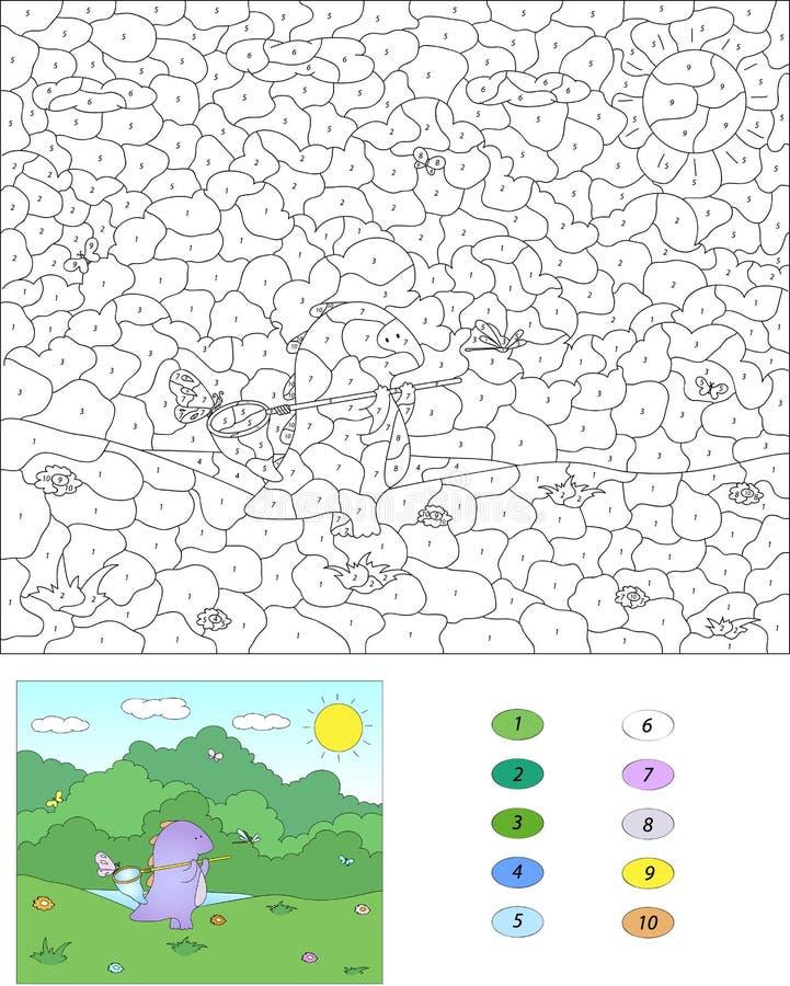Colore dal gioco educativo di numero per i bambini drago - Colore per numero stampabili ...