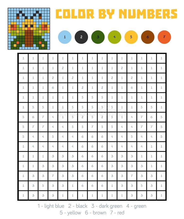 Colore dal numero, gioco di istruzione, farfalla illustrazione di stock