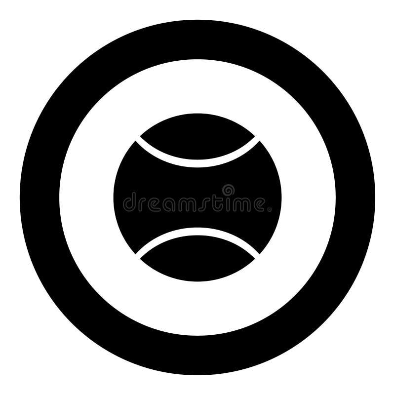 Colore del nero dell'icona della pallina da tennis nel cerchio illustrazione di stock